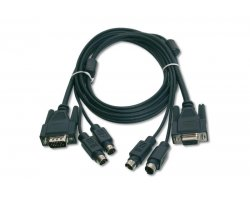 KVM kabel, VGA, PS/2 mus & key