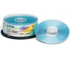 TDK CD-R (52x) 700MB. Cakebox.